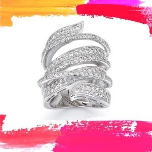 (Y) G🥰RGEOUS▪️Layered Pave Diamond Ring Sz-6